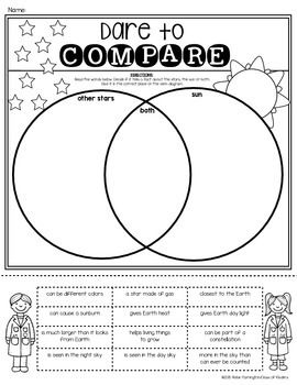 Venn Diagram sun/star sort for First Grade Science. Students will read the information, cut, sort and glue in the correct spot to show they can compare the sun to the other stars! $
