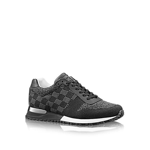 key:product_share_product_facebook_description Run Away Sneakerkey:global_colon This contemporary take on an authentic running shoe comes in Damier-pattern textile with calf leather trim. The technical outsole is accessorised with a Louis Vuitton metal plaque and waterproof leather details, which are attached by hand.