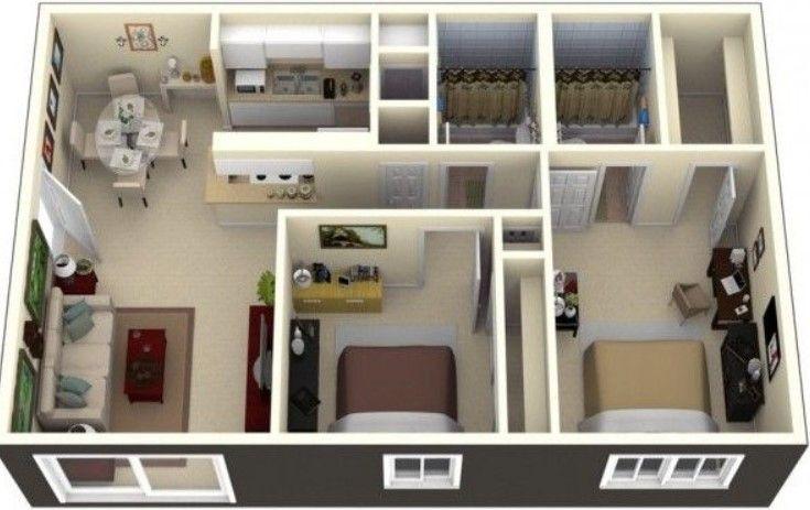 Casa rectangular en 3d planos in 2019 casas de una for Disenos de casas pequenas de una planta