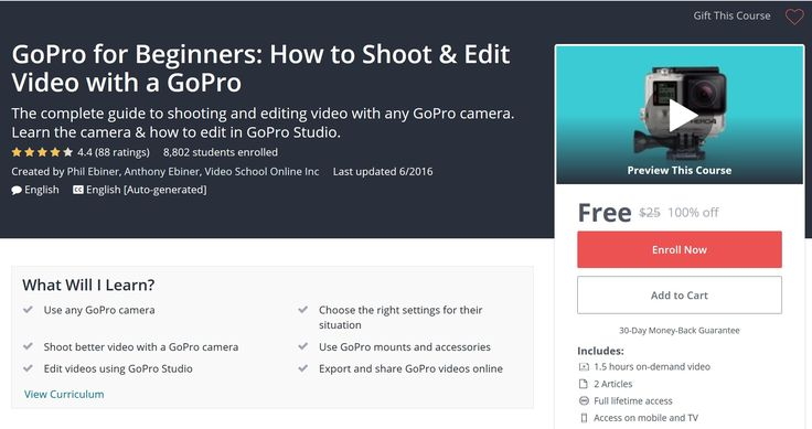 GoPro for Beginners: How to Shoot & Edit Video with a GoPro - Free Udemy Coupon  Coupon Link : http://freecouponudemy.com/gopro-beginners-shoot-edit-video-gopro-free-udemy-coupon/