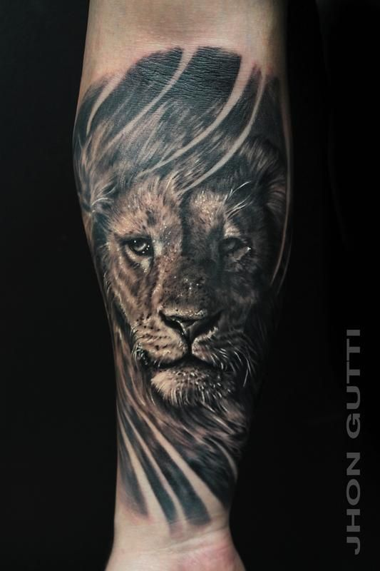 Mehndi Lion Tattoo : Lion portrait by jhon gutti tattoos henna tattoo