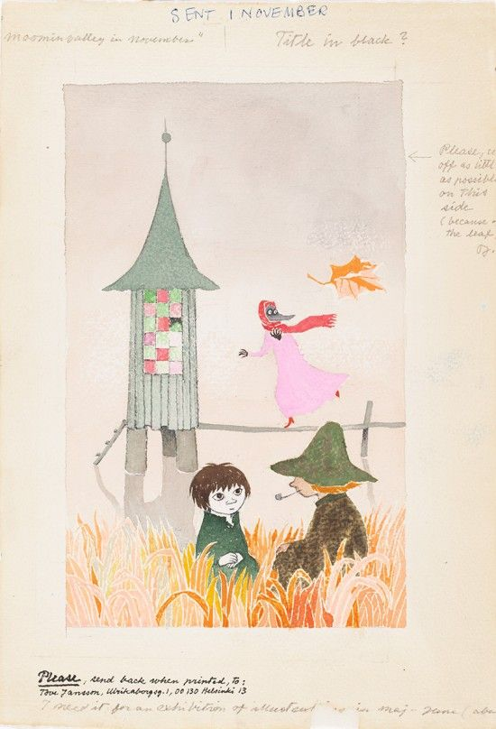Tove Jansson: Cover sketch for the book Moominvalley in November. Tampere Art Museum. Photo: Finnish National Gallery / Yehia Eweis. © Moomi...