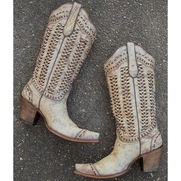 Corral Braided Cowboy Boot ($300) ❤ liked on Polyvore featuring shoes, boots, leather cowboy boots, leather cowgirl boots, leather western boots, vintage cowgirl boots and vintage western boots