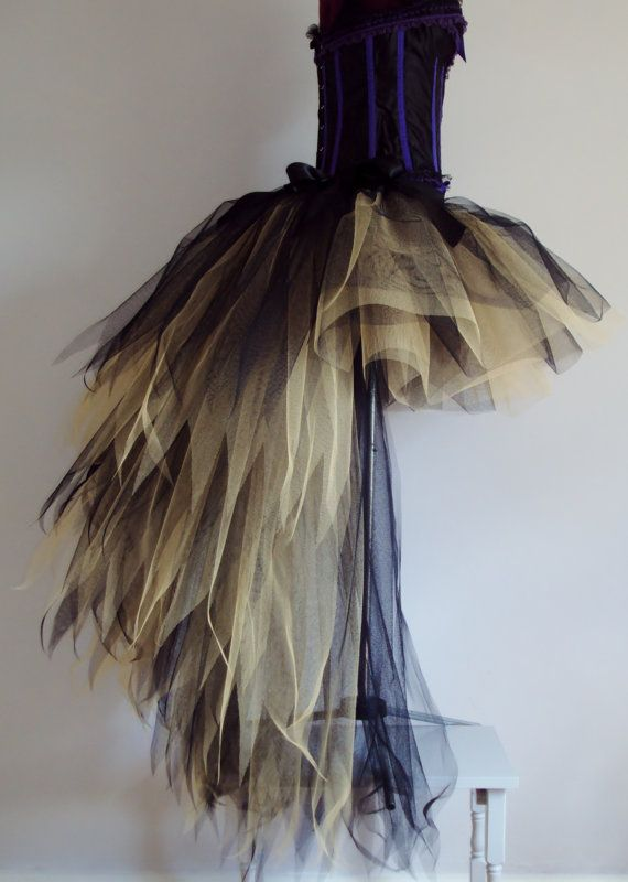 Black Gold Tutu Skirt stunning skirt 40cms at the front with a 120cmsTrailing long bustle at the back .