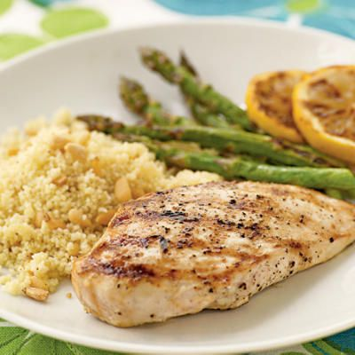 Lemon-Grilled Chicken Breasts    To round out your meal, serve this versatile grilled chicken with a couscous and pine nut pilaf and grilled asparagus. Garnish with grilled lemon slices for a special touch. This recipe makes a lot, so save extra chicken to top a salad for tomorrow's lunch or dinner.
