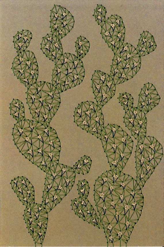 Cactus Print by SarahKBenning on Etsy - this is a print but I think you could get something close to this effect with embroidery.