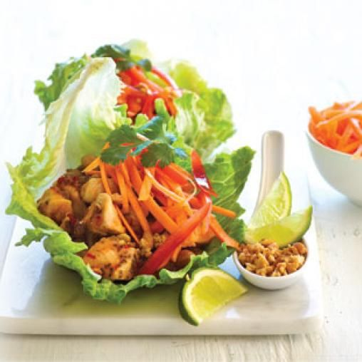 Chicken and chickpea lettuce cups