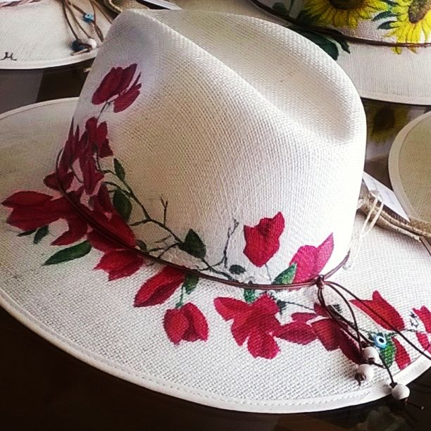 Handmade painting hat   'flowers'