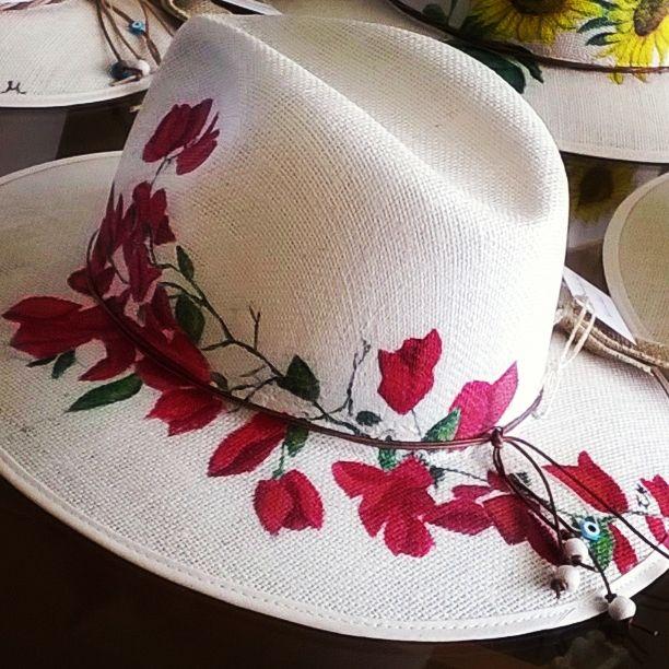 Handmade painting hat   'flowers'