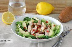 Ensalada de pollo y aguacate con vinagreta de cítricos. Receta saludable