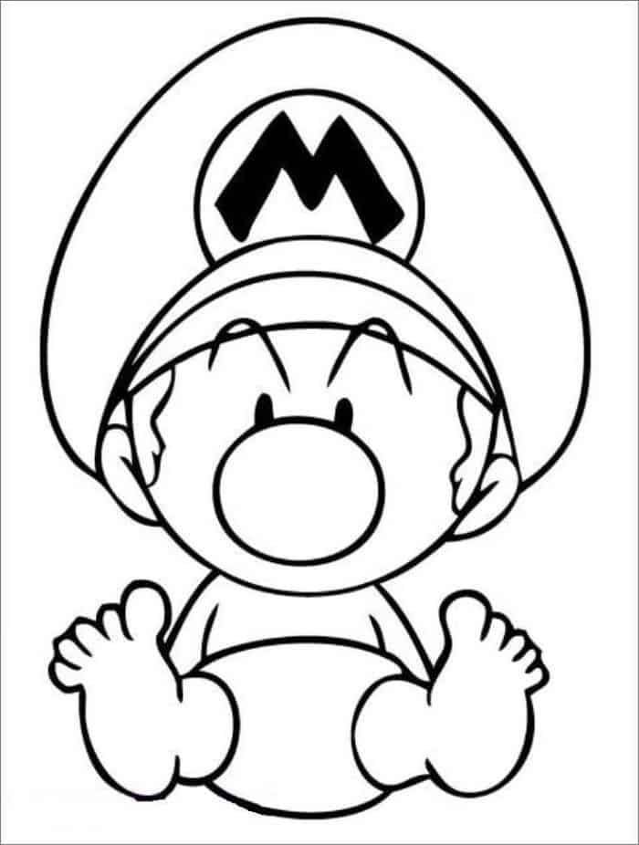 Baby Mario Coloring Pages In 2020 Mario Coloring Pages Super