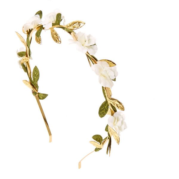 White Flower and Leaves Gold Headband ($6.25) ❤ liked on Polyvore featuring accessories, hair accessories, gold flower headband, gold hair accessories, thin headbands, boho flower headband and headband hair accessories