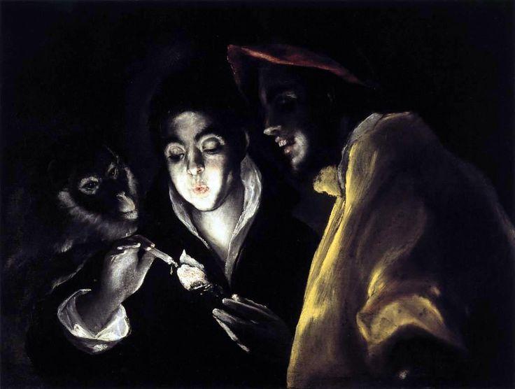EL GRECO  'Ragazzo accende una candela in compagnia di una scimmia e d'un folle'  da en.wikipedia.org
