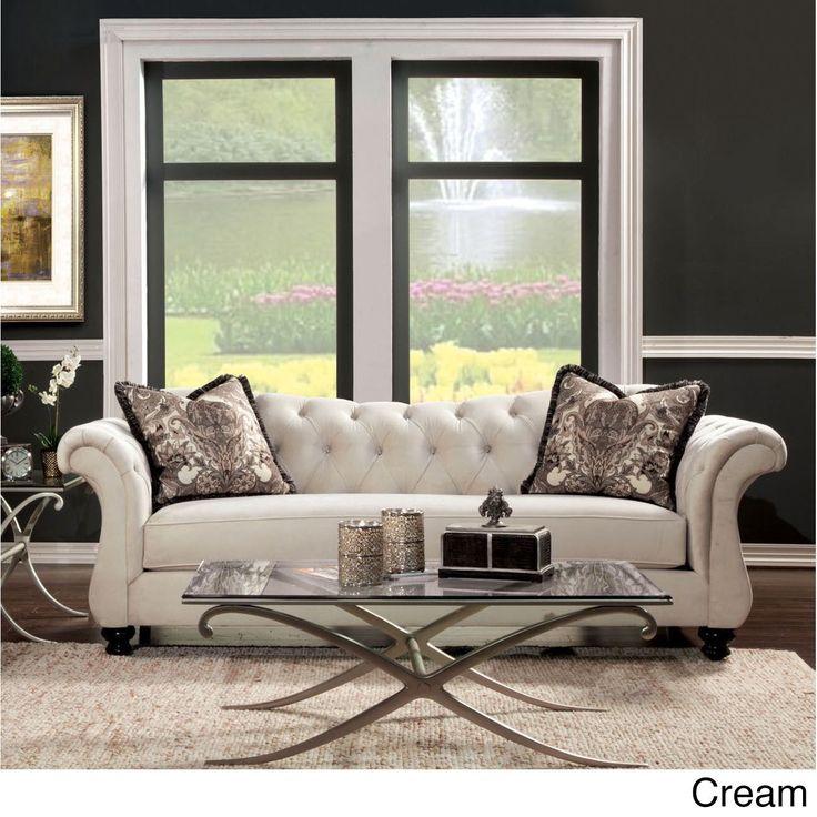 Furniture Of America Agatha Traditional Tufted Sofa (Dolphin Gray), Grey  (Acrylic) Ideas