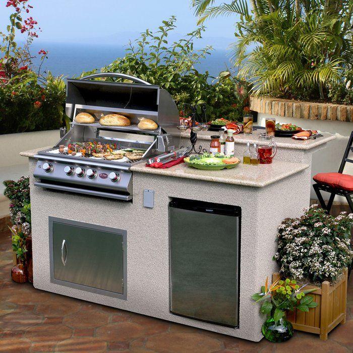 76 4 Burner Liquid Propane Bbq Island Small Outdoor Kitchens Outdoor Kitchen Countertops Grill Island