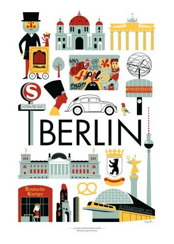 Berlin poster by Ingela P Arrhenius | #Berlin #travel #city #europe