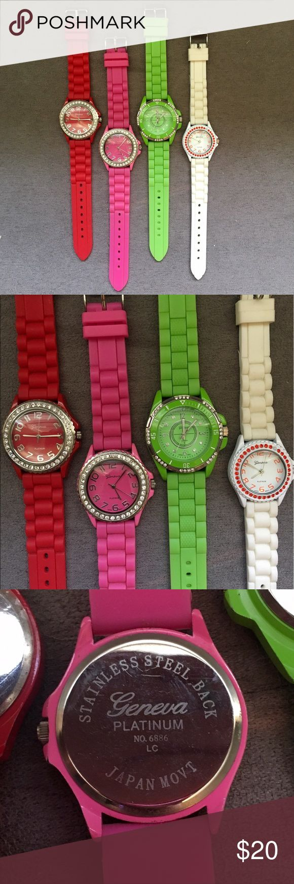 4 Geneva rubber watches They are stainless steel, have rubber bands, they all have each rhinestone except the white watch is missing one red one. Each worn about 3x. Need batteries. You get all! Geneva Platinum Accessories Watches