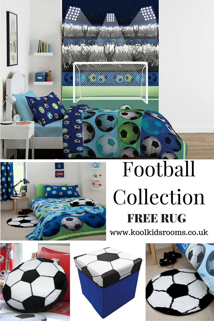 Blue Football Themed Bedroom by Catherine Lansfield - Includes 7 items, blue football single duvet cover, blue football curtains, matching wallpaper football mural, blue football fleece blanket, black & white football rug & cushion, football storage box.