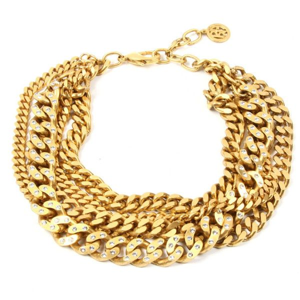 Gold chain and crystal studded necklace ($519) ❤ liked on Polyvore featuring jewelry, necklaces, 24k gold jewellery, 24 karat gold necklace, 24k gold jewelry, chains jewelry and yellow gold jewelry