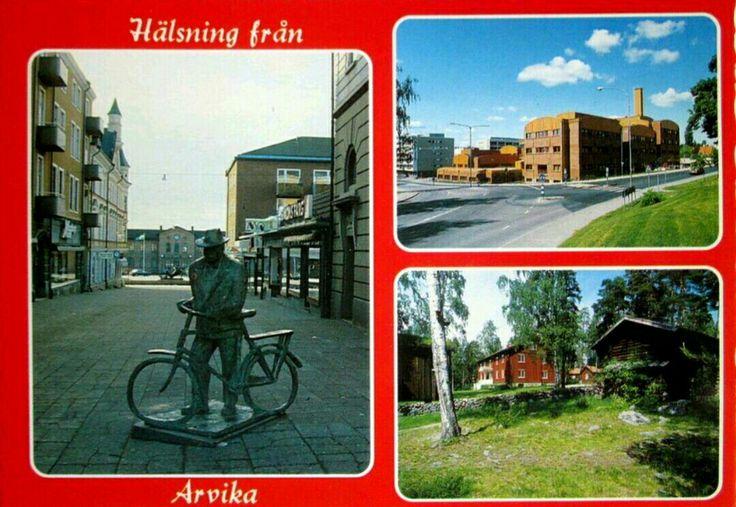 Värmland Arvika kommun Hälsning från.. med bl.a Torget med Elis i Taserud, Sågudden