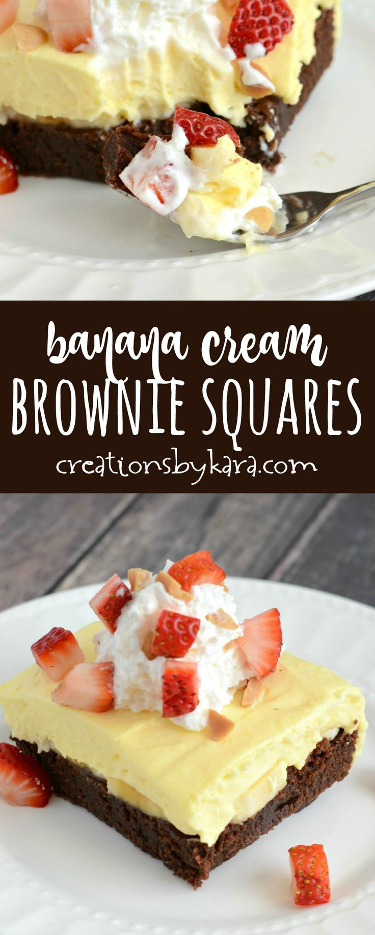 Banana Cream Brownie Squares - a yummy update on banana cream pie. Fudgy brownies, bananas, pudding, strawberries, cream, and chopped nuts all layered in one incredible banana dessert! via creationsbykara.com