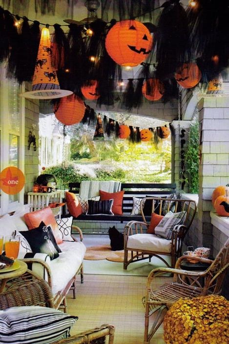 great halloween porch decorating idea idea only dead link tanus note tie black tulle strips onto halloween string lights and hang paper pumpkin - Great Halloween Decoration Ideas