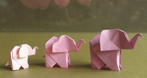Folded paper elephant tutorial
