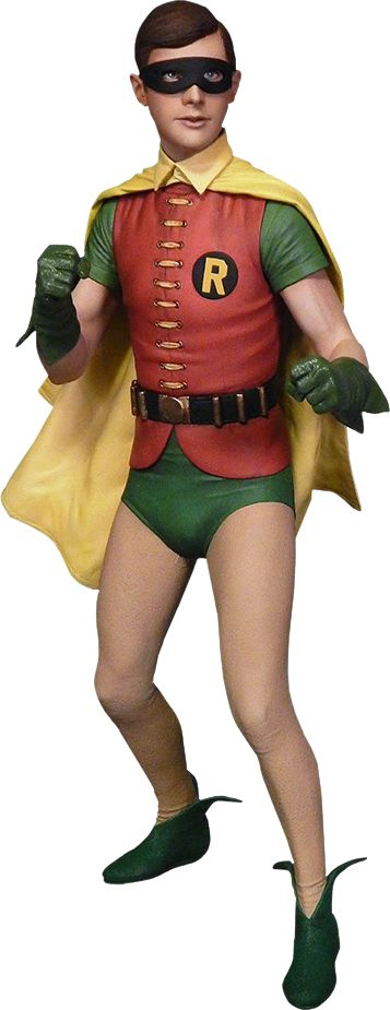 """Robin, the Boy Wonder """"Come on, Robin, to the Bat Cave! There's not a moment to lose!""""  Sideshow Collectibles is thrilled to present Tweeterhead's latest release in the Classic '66 Batman line: Robin, the Boy Wonder Maquette Diorama!  Based on the classic television show, this collectible statue features a stunning likeness of Burt Ward as Robin, the Boy Wonder and includes a bat cave base with the top piece and left half of the iconic Batcomputer."""