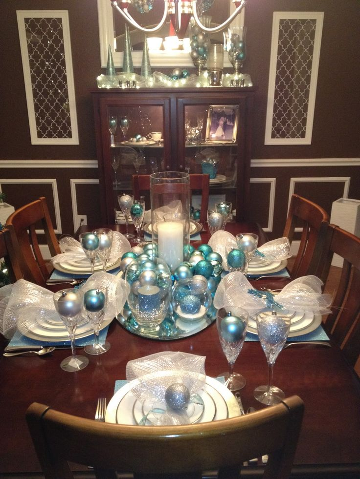 Engineering life and style dining room aqua 2013 for Silver centerpieces for dining table