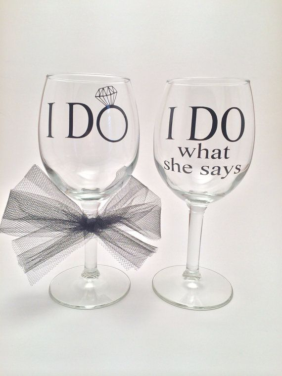 I Do / I Do What She Says Funny Wedding Wine by PrettyLittleVinyls