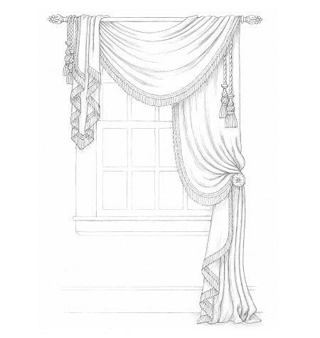 I love this style of curtain- I'd work it up in a gold (faux) dupioni silk with black and gold trim to coordinate with our couch. Lovely, formal and yet still so effortless looking.