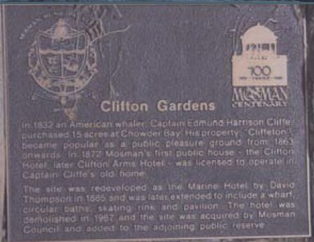 plaque marking the site of the Clifton Gardens hotel