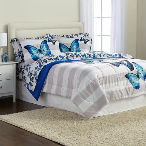 Microfiber Comforter Set - Striped & Butterfly - Kmart