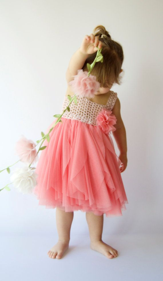Girl Tulle Dress with Stretch Crochet Top. Flower girl tulle  dress in Coral & Pink