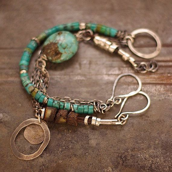 two bracelets, handmade of oxidized sterling silver (925)100% , turquoise stones, Baltic amber, signed.    * Made to order.    D I M E N S I O N S :