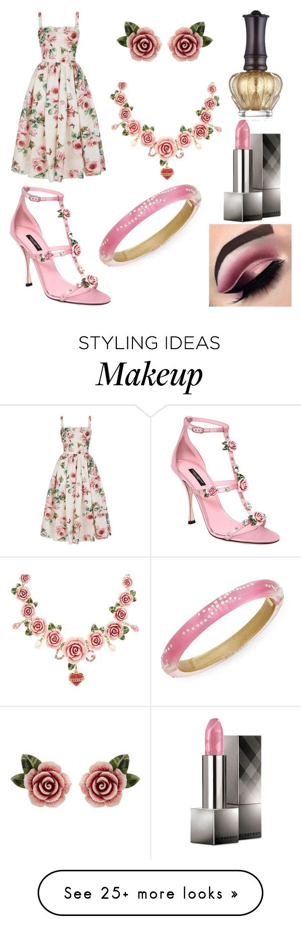 """""""Soft Rose"""" by zexalrose on Polyvore featuring Dolce&Gabbana, Anna Sui, Burberry, Beauty Bakerie and Alexis Bittar"""