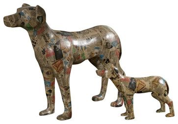 Uttermost Decoupage Dog Sculpture - Traditional - Decorative ...