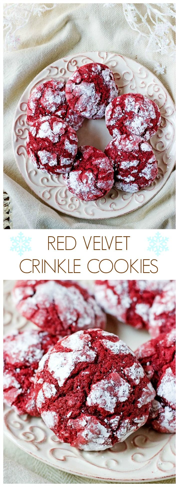 Red Velvet Crinkle Cookies - easy and festive crinkle cookies made from scratch! They will be perfect for your Christmas cookie plate!