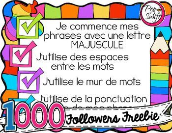 FREE French Writing Anchor Chart! Support for daily writing tasks and at writing centers for your primary students.