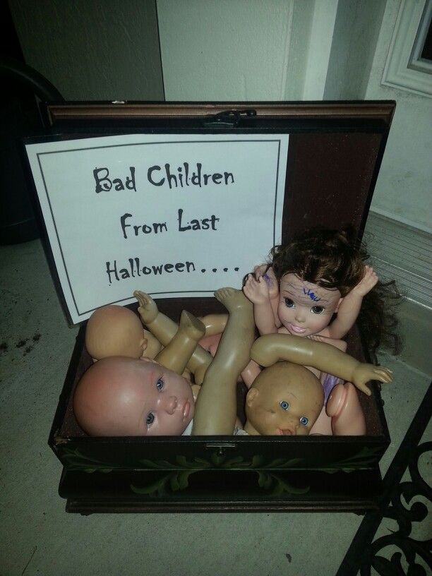 "Bad children from last Halloween prop. LOL put this next to the ""please only take one"" sign in the candy bowl we leave on our porch."