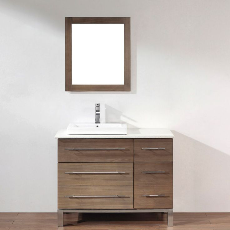 Ginza 42 Smoked Ash Vanity Ensemble With Mirror And Faucet Bathroom Pinte