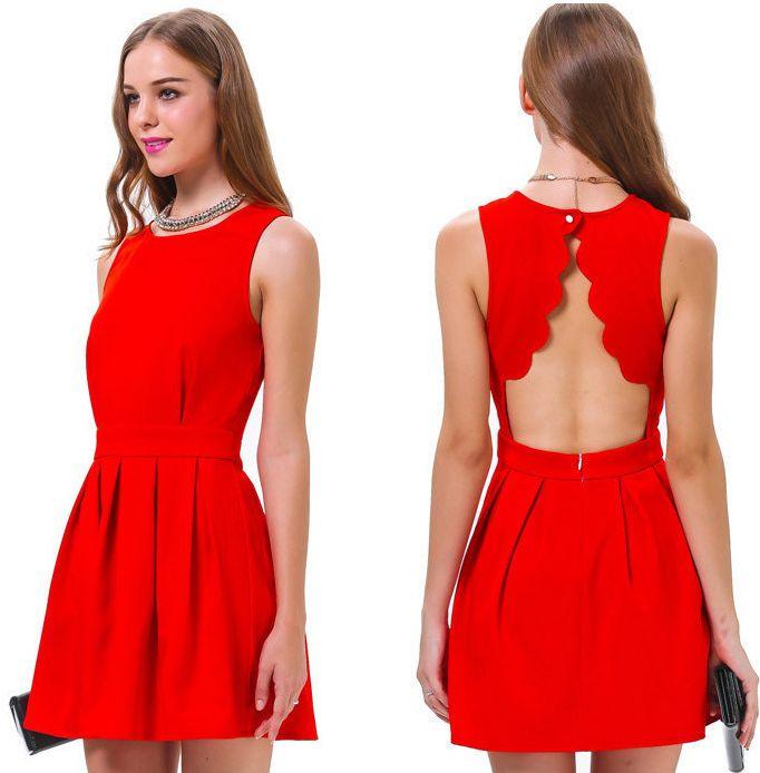 Red dress short dress for women