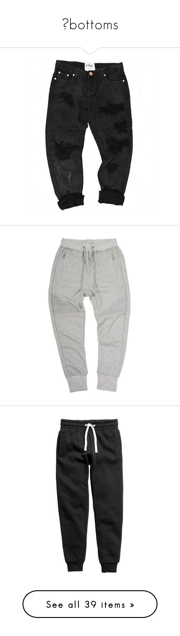 """""""↠bottoms"""" by park-minho ❤ liked on Polyvore featuring pants, bottoms, clothing - trousers, jeans, activewear, activewear pants, mens joggers, sweatpants, joggers and sport"""