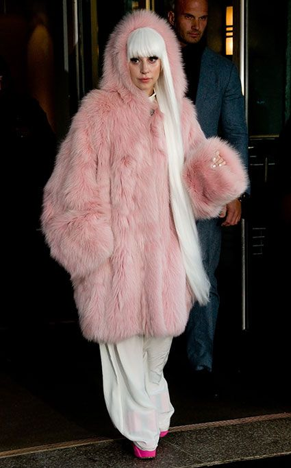 Lady Gaga steps out in a giant pink yeti coat and mega long white hair extensions - Trend or tragic?