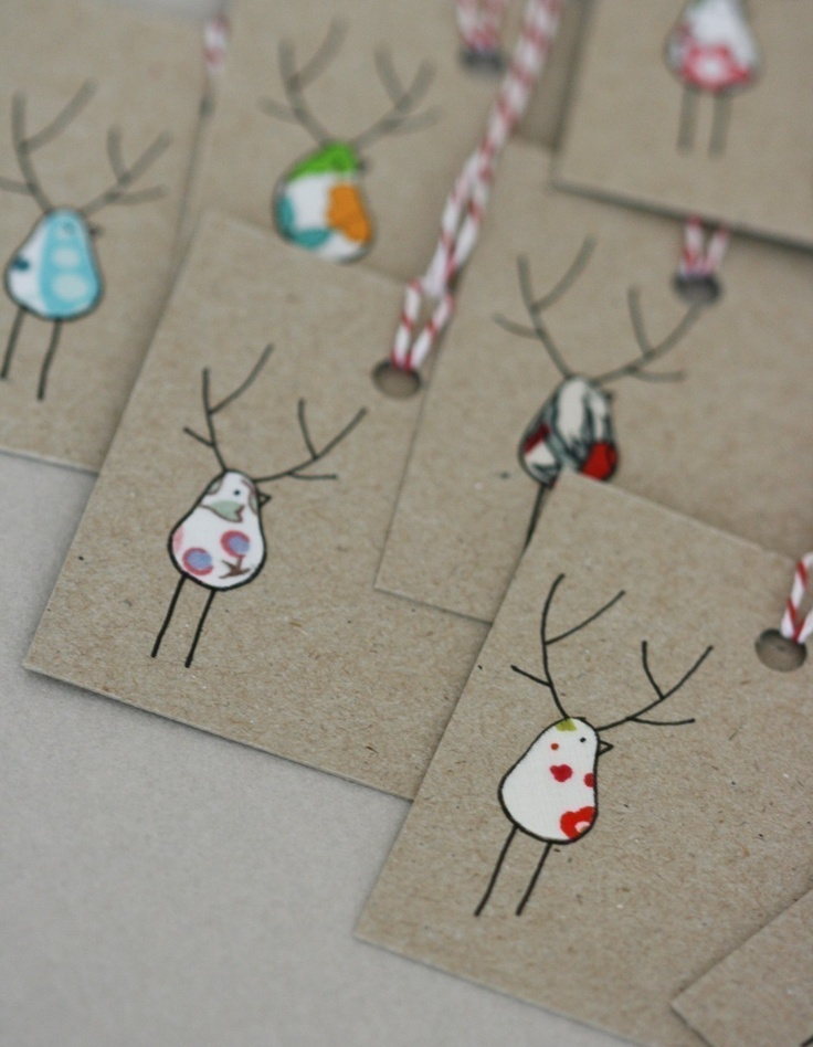 """Christmas Gift Tags - Reinbirds Mom you could totally make these """" only cuter"""" LOL"""