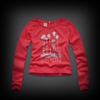 Hollister Stands Point Shine Sweatshirt クルーネック スウェット キラキラと輝くフロントのグラフィックがお洒落なデザイン。