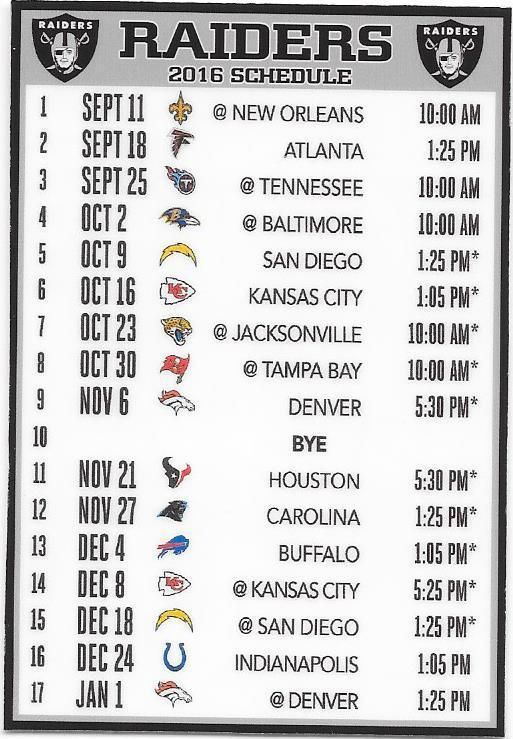 NEW, THE OAKLAND RAIDERS 2016 NFL SCHEDULE FRIDGE MAGNET #OaklandRaiders