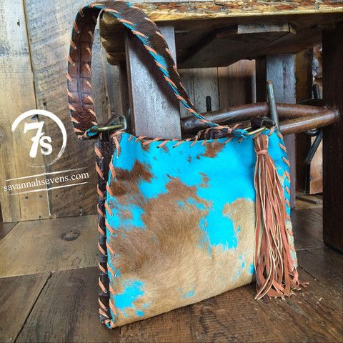 The Hancock – Turquoise burnout hide purse from Savannah Sevens Western Chic