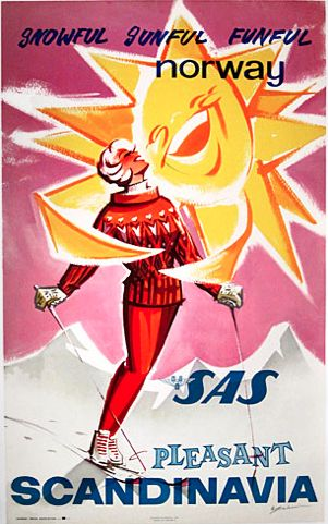 By René Gruau, 1 9 6 1, Snowful, sunful, funful Norway by SAS Pleasant Scandinavia.