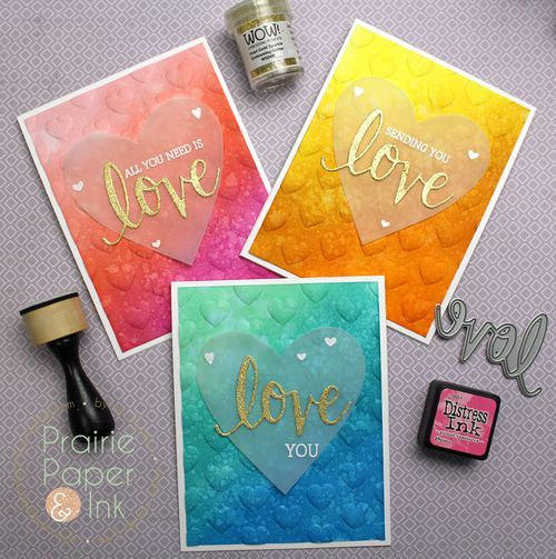 Beautiful cards by Amy Rysavy featuring Hero Arts Love Stamp & Cut